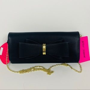 Betsey Johnson small bow clutch bag gold chain